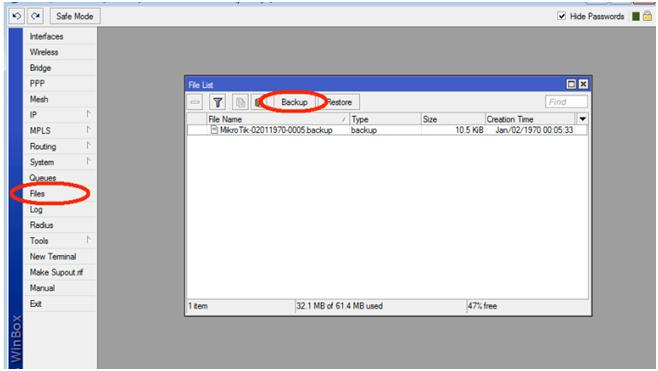 Backup و Restore از تنظیمات میکروتیک