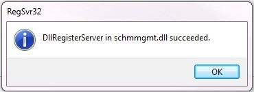 "راه حل ارور اکتیو دایرکتوری ""The module ""schmmgmt.dll"" loaded but the call to DllRegisterServer failed with error code 0x80040201"""