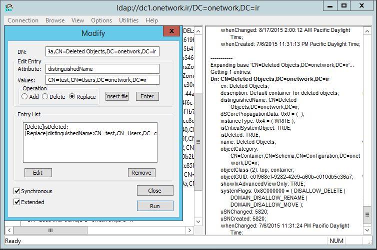 بازیابی Object های حذف شده در Active Directory