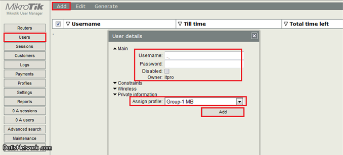 آموزش اکانتینگ در میکروتیک با User Manager
