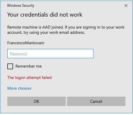 رفع مشکل ارور The logon attempt failed هنگام اتصال Remote Desktop