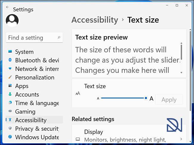 تنظیم اندازه متن در Windows 11